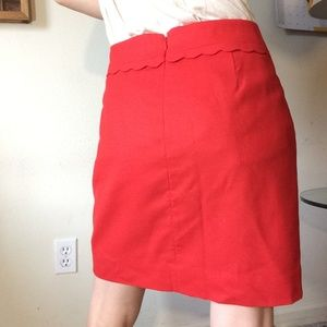 J. Crew Skirts - J. Crew Red Scalloped Trim Hips Professional Skirt